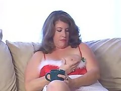 Breasty plump honey blows hard dick on sofa great bbw