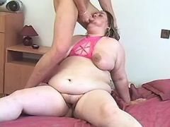 Chubby mature sucks cock and fucks