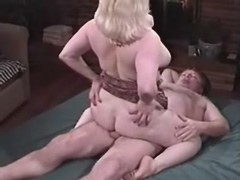 Depraved Chubby lady fucking with dude on bed