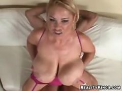 Young guy hard drills chesty mature lady in pink great bbw