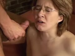 Pregnant cutie gets cumload after fuck on sofa