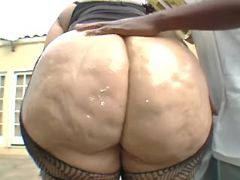 Chubby blonde sucks chocolate cock great bbw