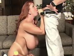 Breasty redhead plumper sucks cock great bbw