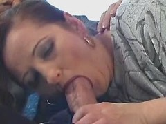 Hot housewife sucking and fucking with horny dude