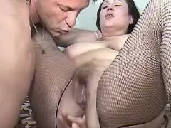 Chubby mature licked and fingered