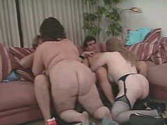 Paunchy mature womans fucks in orgy in hotel great bbw