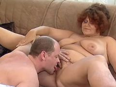 Redhead mature BBW licked by man great bbw