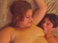 Redhead plumper bathes and fucks with dude great bbw