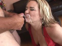 Fat blonde mature gets cum on face great bbw