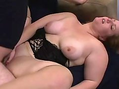 Megabusty plumper girl fucking with dude on sofa great bbw