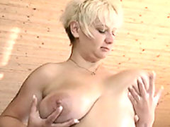 Blonde milf lubes up her breasts great bbw