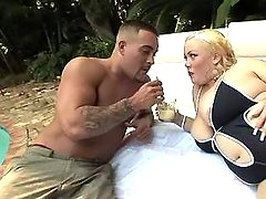 Man spoils chubby blonde in nature great bbw