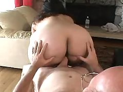 Enormous fat housewife enjoys vibrator on sofa